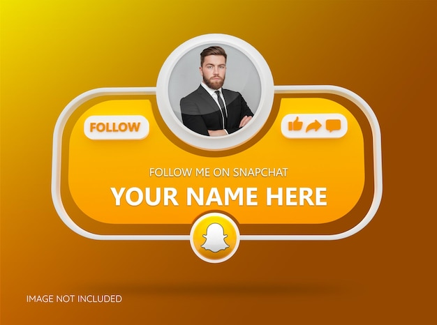 Volg ons op snapchat sociale media met 3d-logo en linkprofielvak