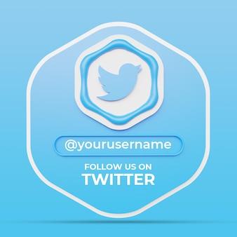 Volg ons op twitter social media profiel vierkante bannersjabloon