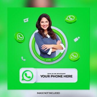 Volg ons op whatsapp social media vierkante banner met 3d-logo en linkprofielvak