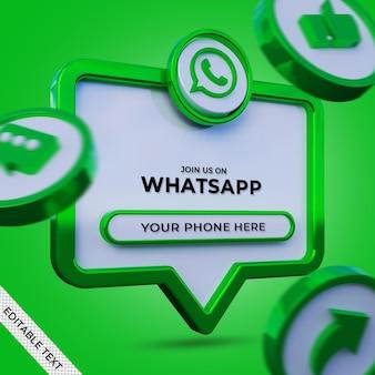 Volg ons op whatsapp sociale media vierkante banner met 3d-logo en linkprofiel
