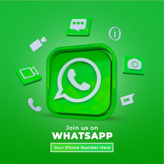 Volg ons op whatsapp sociale media vierkante post met 3d-logo en linkprofiel
