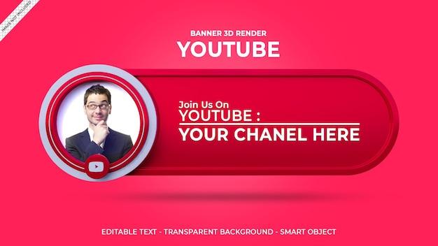 Volg ons op youtube sociale media vierkante banner met 3d-logo en linkprofielvak Premium Psd