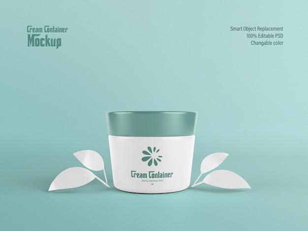 Volledig bewerkbare crème container mockup
