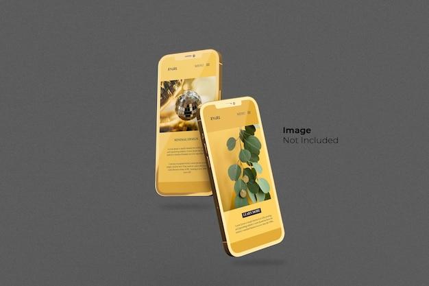 Volledig scherm gouden smartphone mockup-ontwerp