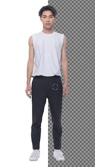 Volledige lengte tiener 15s 20s aziatische jongen dragen vest jurk en jeans broek sneaker, geïsoleerd. slanke gezonde man staat en post zelfverzekerde blik op camera, kort zwart haar, studio witte achtergrond