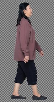 Volledige lengte van 60s 70s oudere aziatische vrouw zwart haar paars shirt, lopen en dik slim, geïsoleerd. senior grootmoeder lopen naar en draait links rechts uitzicht over witte achtergrond geïsoleerd