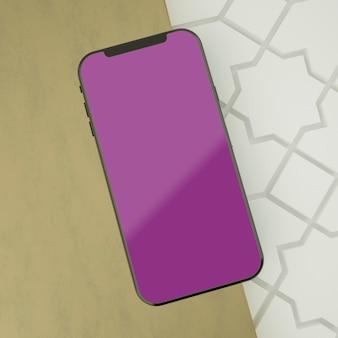 Volledige scène islamitisch met het mockup van het schermsmartphone het 3d teruggeven