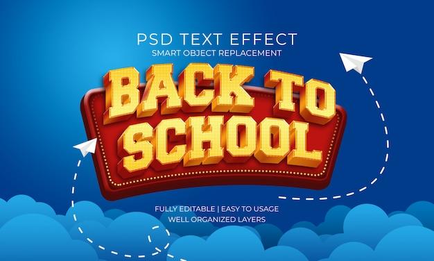 Volver a la escuela oro y texto rojo efecto