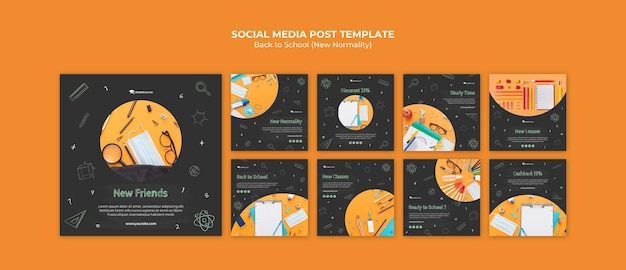 Volver a la escuela publicaciones en redes sociales