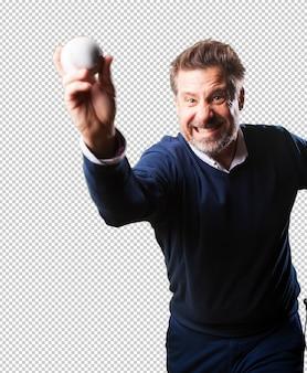 Volwassen man honkbal spelen