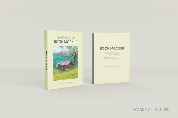 Voor- en achteraanzicht van hardcover boek staande mockup