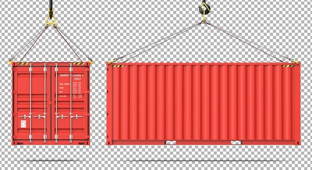 Voor- en zijaanzicht van de vrachtcontainer die aan de kraanhaak hangt