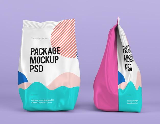 Voor- en zijaanzicht van staand pakketmodel