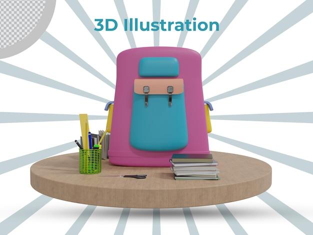Vooraanzicht 3d teruggegeven lerarendag 3d illustratieontwerp