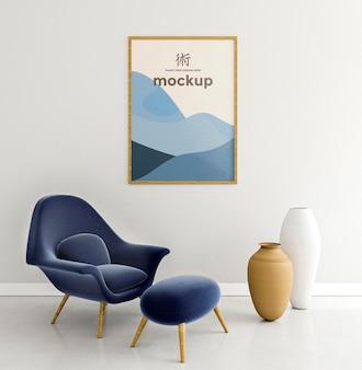 Vooraanzicht binnenshuis opstelling met frame mock-up