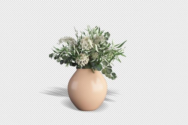 Vooraanzicht boeket bloemen in een vaas in 3d-rendering