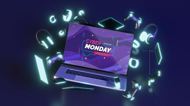 Vooraanzicht cyber maandag verkoop samenstelling mock-up