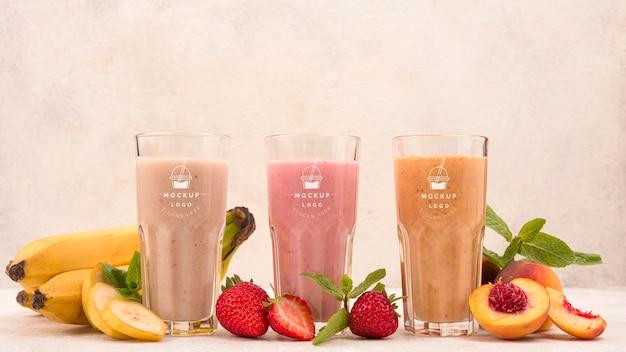 Vooraanzicht exotisch fruit smoothie dranken
