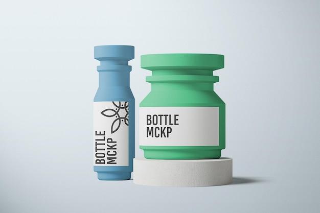 Vooraanzicht fles verpakking mockup ontwerp