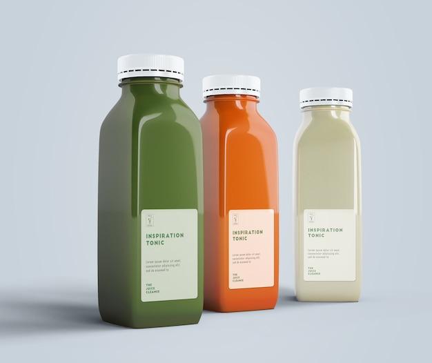 Vooraanzicht gezond eten smoothies voor detox concept