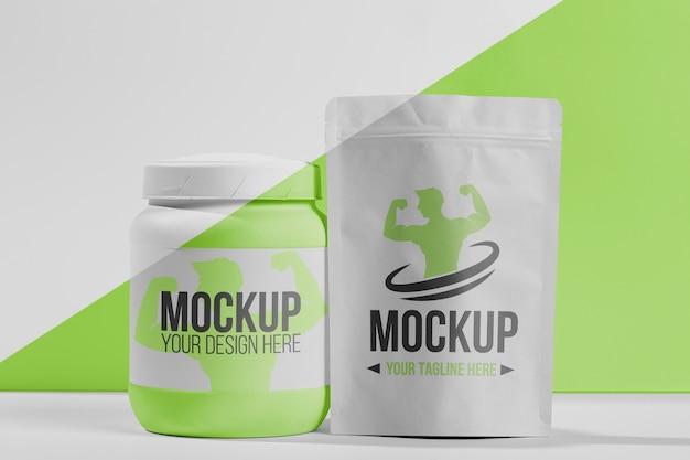 Vooraanzicht groene voedingsstoffen sportschool mock-up concept