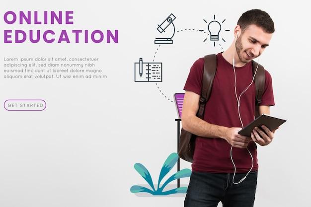 Vooraanzicht man student met tablet