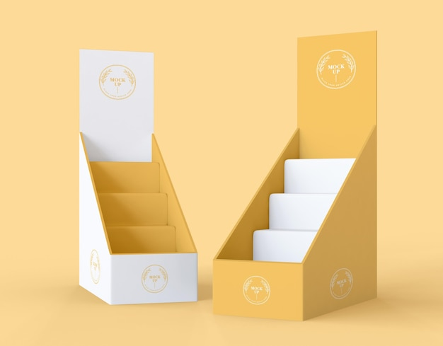 Vooraanzicht minimalistisch geel exposantenmodel