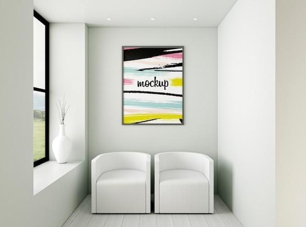 Vooraanzicht minimalistisch interieurassortiment met frame mock-up