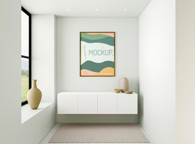 Vooraanzicht minimalistische interieurcompositie met frame mock-up