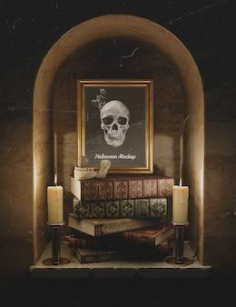 Vooraanzicht mock-up frame met schedel en stapel boeken