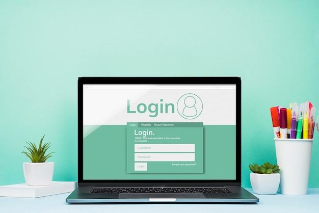 Vooraanzicht mock-up laptop met blauwe achtergrond