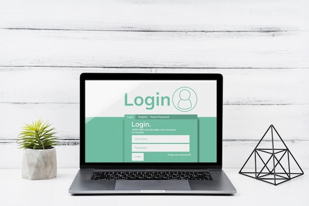 Vooraanzicht mock-up laptop met houten achtergrond