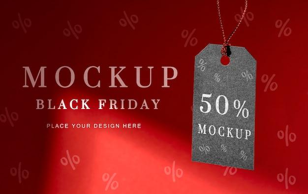 Vooraanzicht mock-up zwarte vrijdag hangende prijskaartje