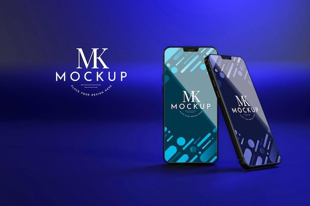 Vooraanzicht nieuwe telefoons mock-up