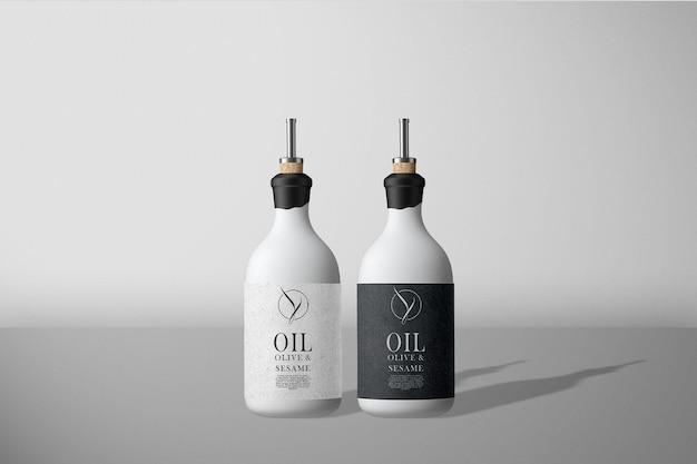Vooraanzicht olie olijven fles mockup