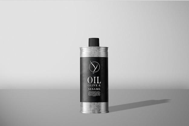 Vooraanzicht olijfolie kan mockup
