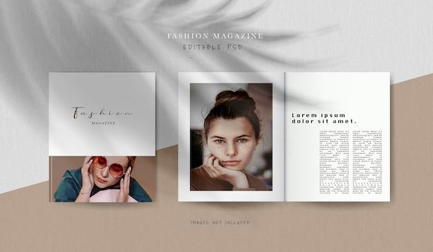 Vooraanzicht omslag en mock-up van redactiemagazine aan de binnenkant