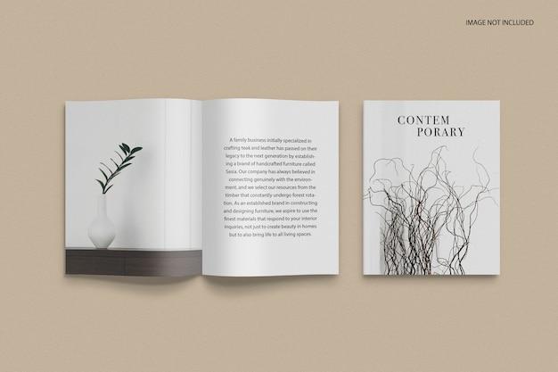 Vooraanzicht omslag en mockup voor redactioneel tijdschrift binnenste gedeelte