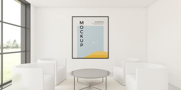 Vooraanzicht opstelling voor interieur met frame mock-up