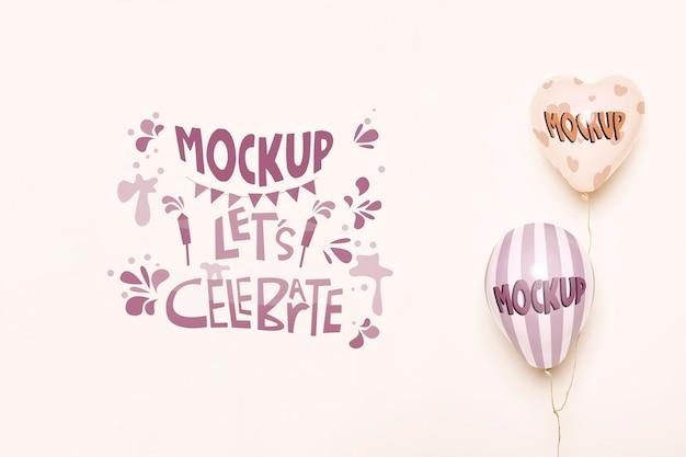 Vooraanzicht van ballonnen mock-up voor feest