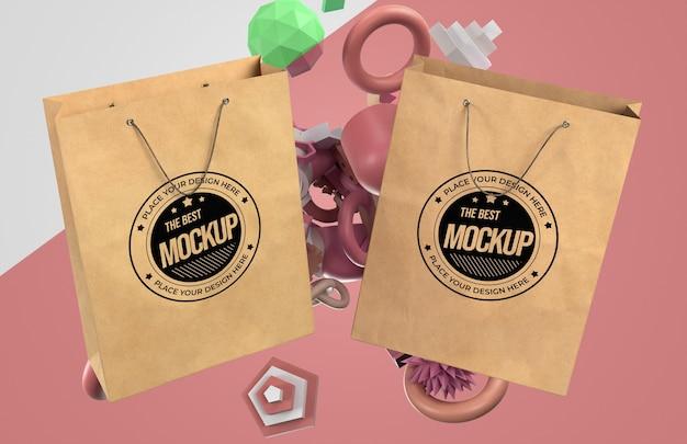 Vooraanzicht van boodschappentassen mock-up