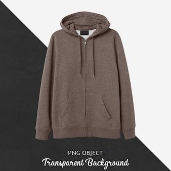 Vooraanzicht van bruin hoodie-model