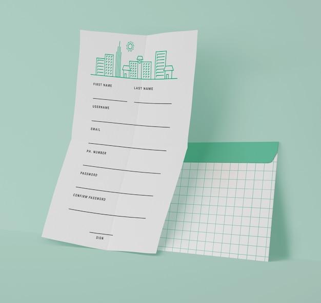Vooraanzicht van documenten met rasterlijnen