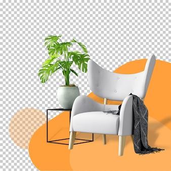 Vooraanzicht van fauteuil en plant in 3d-rendering