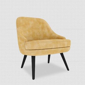 Vooraanzicht van fauteuil in 3d-rendering