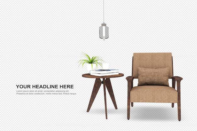 Vooraanzicht van fauteuil in 3d-weergave geïsoleerd