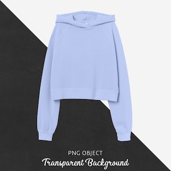 Vooraanzicht van lichtblauw crop hoodie-model