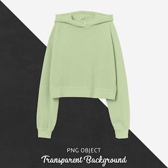 Vooraanzicht van lichtgroen crop hoodie-mockup