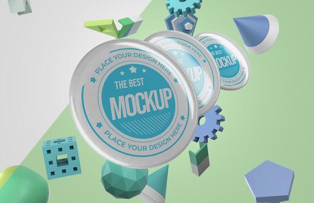 Vooraanzicht van mock-up merchandise met een heleboel insignes