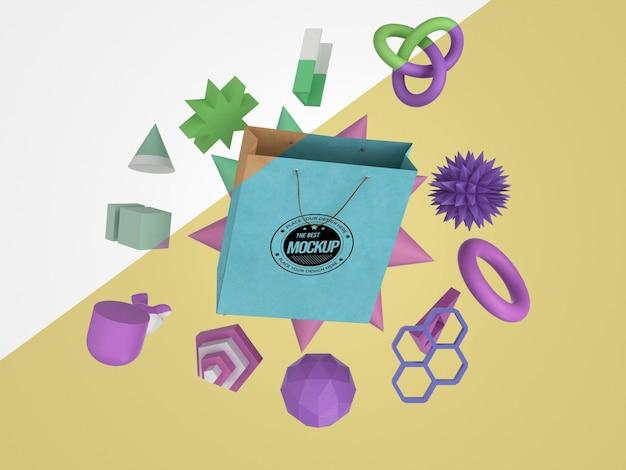 Vooraanzicht van mock-up merchandise met papieren zak